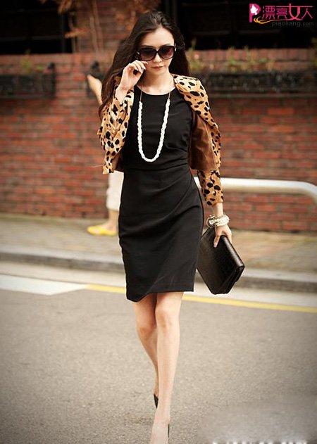 秋冬新款圆领豹纹短外套