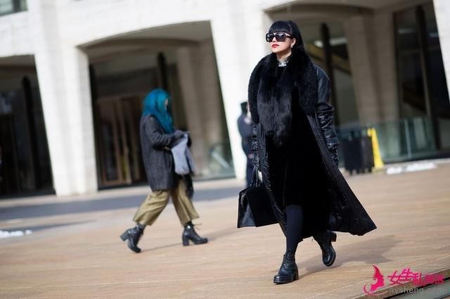 2014纽约时装周街拍 大外套保暖第一