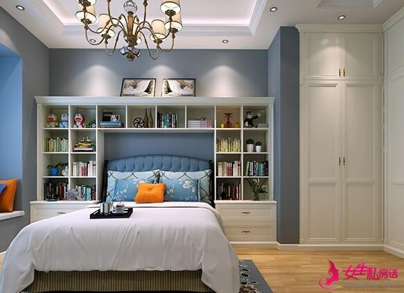 床头卧室书柜布置方法 三联