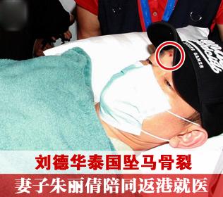 刘德华泰国坠马骨裂 妻子朱丽倩陪同返港就医