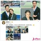 郑嘉颖与小22岁娇妻合体看球赛 举偶像海报拍照