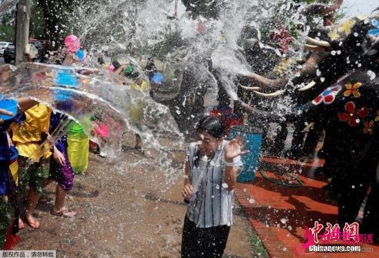 �Y料�D:��地�r�g2019年4月11日,泰��大城府,��地�c祝佛教新年宋干�,狂�g者和大象互相��水。