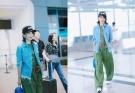 刘涛机场新造型简单清爽,却被蓝色轮胎包包给抢镜了