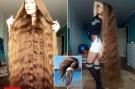 女孩14年没剪头,金发1.5米长像瀑布,网友:要是打架就惨了